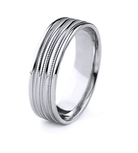 (10k Gold Men's Comfort-Fit Carved Wedding Band with Three Milgrain Lines and Polished Finish)