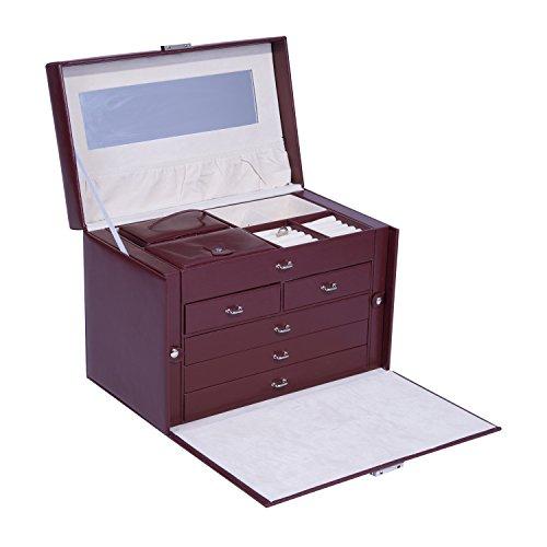 HomCom Jewelry Box Organizer Case and Lock - Wine Red