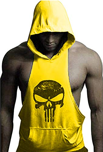 Diconna Men's Bodybuilding Hoodie Shirts Stringer Tank Top Muscle Sleeveless Gym Vest (Yellow - Skull, XL)