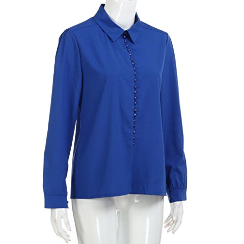 Bleu Une Femme De Chic Seule Fille Shirt Boutons Angelof Fluide Chemises Rangée À Crêpe Top Blouse Manche xBWp0a