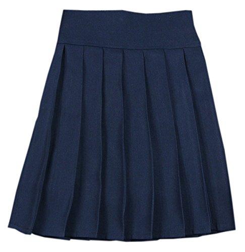 (Women's High Waist Solid Plain Pleated School Uniform A-Line Skirt, Navy, Tag M = US S)