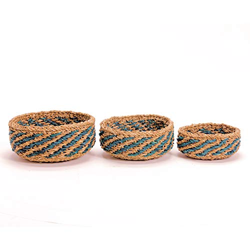 3 Piece Woven Beach House Basket Bowls, Set of 3, Natural Chunky Sweater Weave, Blue Stripes, Handmade, from 12-8 Inches in Diameter, Made by Nature