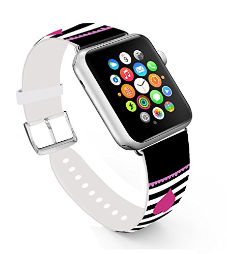 For Apple Watch Band 38mm,Ecute Replacement Band Leather Iwatch Strap With Silver Metal Clasp for Iwatch 38mm Series 3/Series 2/Series 1/Edition/Sport - Black Line and Red Love