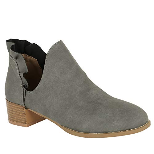 (Womens Cutout Ankle Booties Low Chunky Block Stacked Heel Chelsea Booties Slip On Ruffle Round Toe Boots Grey )