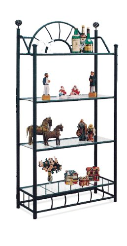 Amazon.com: 4 Tier Black Metal Book Shelf / Case with Glass Shelves ...