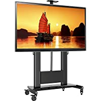 North Bayou Mobile TV Stand for Massive LCD LED OLED Flat Panel TV 60 – 100 Inch Heavy Duty up to 300lbs TV Cart with Mount Mobile TV Stand with Wheels and Shelves Motorized TV Lift TW100 Black