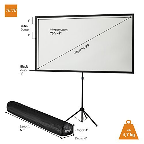 celexon 90'' Tripod Projector Screen Ultra Lightweight, 16:10 format, 11 lbs weight, Projector Screen Size: 76'' x 48''