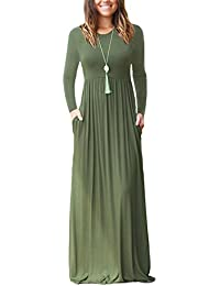 9f1302af70 Women s Short Sleeve and Long Sleeve Loose Plain Maxi Dresses Casual Long  Dresses with Pockets