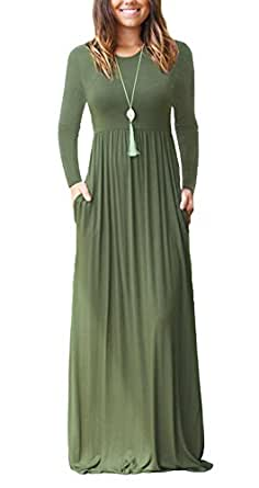 LONGYUAN Women Long Sleeve Loose Plain Maxi Dresses Casual Long Dresses With Pockets, Army Green Long Sleeve, Small