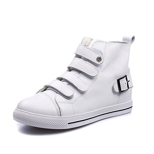 Shenn Mujer Tobillo Alto Hebilla Clásicos Blanco Cuero Entrenadores Zapatos EU36 QvfKvW94ay