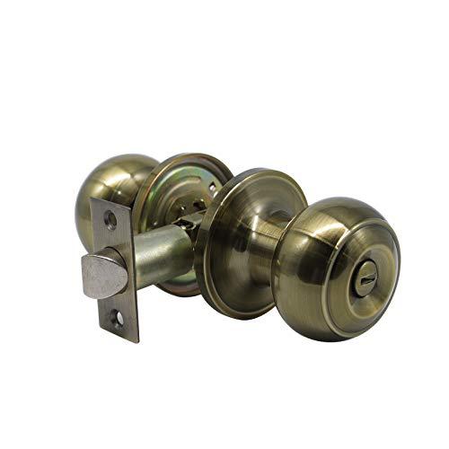 (Interior Door Knob Polished Bronze,Privacy Function for Bedroom and Bathroom,Ball Door Knob Bronze.Classical Door)