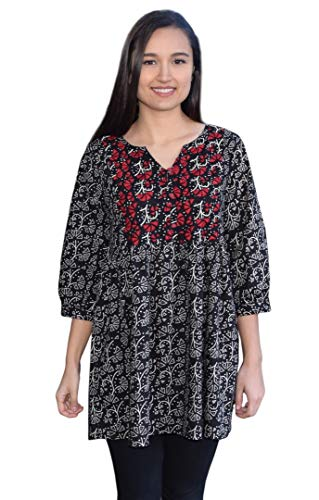 - Megha Pure Cotton Hand Embroidered Printed Tunic Top Blouse: Black Beige/Red Emb: XL