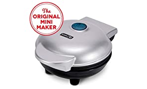 Dash DMS001SL Mini Maker Electric Round Griddle for Individual Pancakes, Cookies, Eggs & other on the go Breakfast, Lunch & Snacks with Indicator Light + Included Recipe Book - Silver