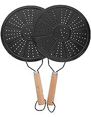 Yardwe 2 st värmespridare simmare ringplatta flamskydd induktion diffusor platta med trähandtag för elektrisk gasspis glas induktionshäll matlagning 22 cm svart