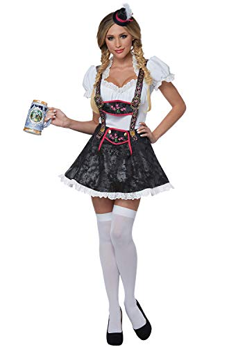 California Costumes Women's Flirty Fraulein Adult Woman Costume, White/Black, -