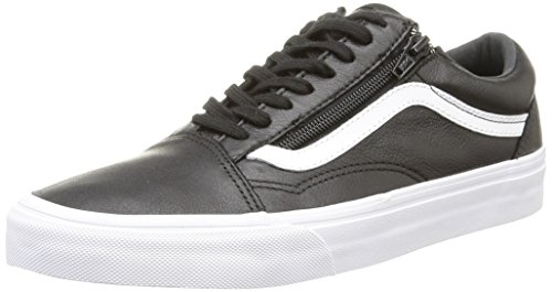 Vans Premium Leather Old Skool Zip Mens Skateboarding-Shoes VN-018GEW9 Black