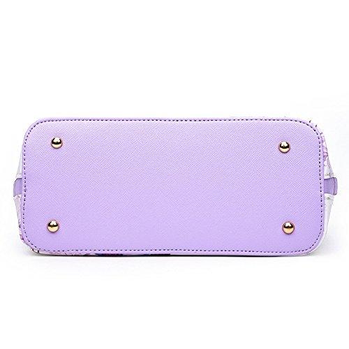 Medium Fashion Brand Black Bag purple C Soft Bag CHUANG Women Size Flower Shoulder Ladyhere Single waq4RYTB