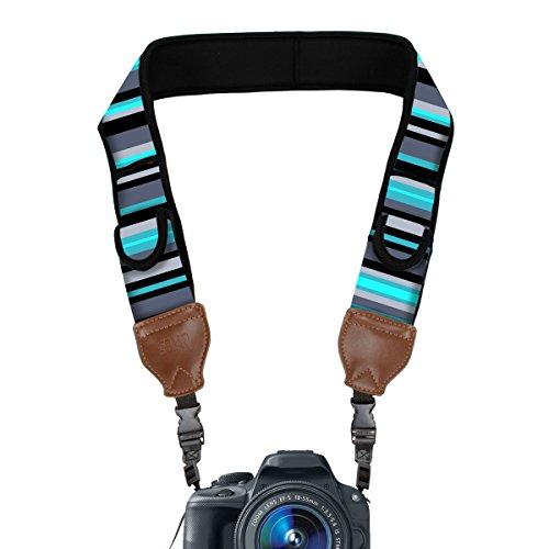 TrueSHOT Camera Strap with Blue Stripe Neoprene Design and A