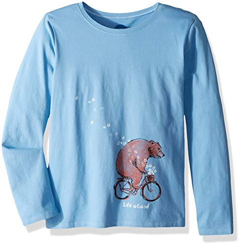 Bicycle Womens T-shirt - Life is Good Girls Crusher Longsleeve Tee Bear Bike Flowers Athletic T Shirts, Powder Blue, X-Large
