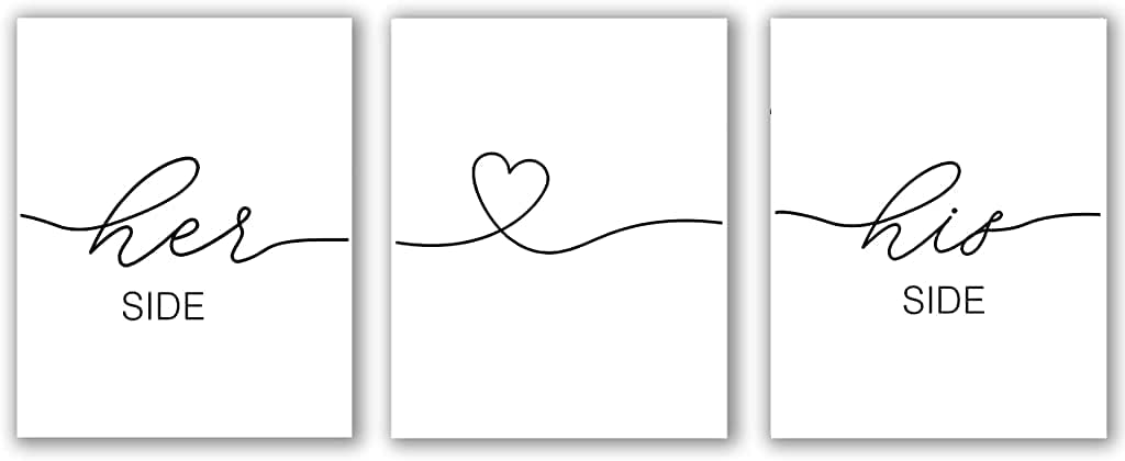 Her Side His Side Set of 3 Print, Bedroom Wall Art, Above Bed Decor, Couple Bedroom Sign, Bedroom Quote, Bedroom Decor Print (Her Side His Side, 8