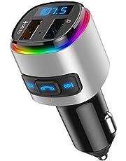 (Upgraded Version) Bluetooth FM Transmitter for Car, QC3.0 Charging, Dual USB Ports, 7 Color RGB LED Backlit Car Adapter, Support Siri Google Assitant, U Disk, SD Card, Hands-Free Car Kit(Silver)
