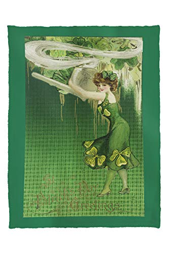 (Lantern Press St. Patrick Day Greetings Woman in Green Holding a Pipe Scene 10914 (60x80 Poly Fleece Thick Plush Blanket))