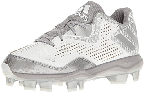 adidas Men's Freak X Carbon Mid Softball Shoe, White/Aluminum/Metallic/Silver, 11 M US (Softball Mid Shoe)