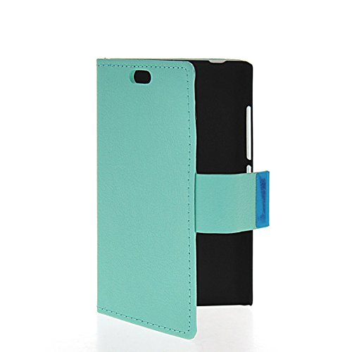 Nokia X2 Dual SIM Case,COOLKE [Aqua] AQUA Wallet With Card Pouch Stand Feature Soft Leather Case Cover For Nokia X2 Dual SIM