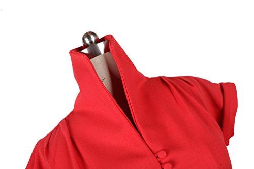 Eyekepper Las mujeres 1950 vestido sólido de la vendimia oscilación del color plisado Rojo