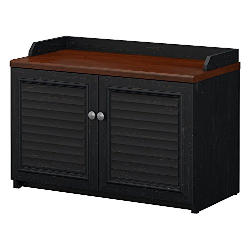 Bush Furniture Fairview Shoe Storage Bench in Antique Black and Hansen Cherry