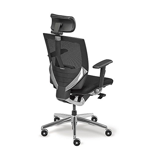 Aluminum Frame Fabric Black Seat - Arris High Back Mesh Ergonomic Chair with Fabric Seat Black Fabric & Mesh/ Aluminum Frame Dimensions: 25.5