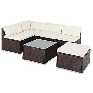 Casaria Salon de Jardin Brun polyrotin 16 pièces Lounge Ensemble Jardin Set Table canapé de Jardin modulable Coussins…