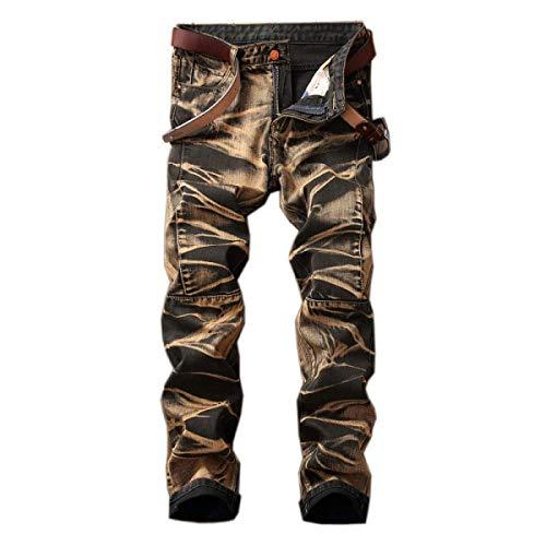 Per Moda Jeans Distrutti Casual Retro Media Il Di Da Denim Vita Slim Dritti Uomo Moderna Fit Tempo A Libero Giallo Senza Pantaloni Cintura vxawFqZP44