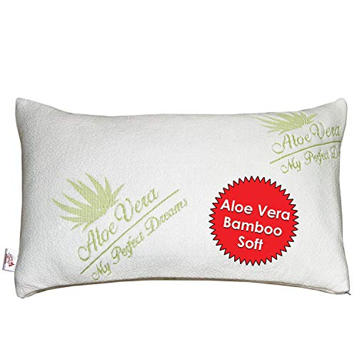My Perfect Dreams Adjustable Bamboo Aloe Vera Shredded Memory Foam Pillow - Sleep Better Than Ever - Micro-Vented Bamboo Cover - Hypoallergenic and Dust Mite Resistant (Queen)