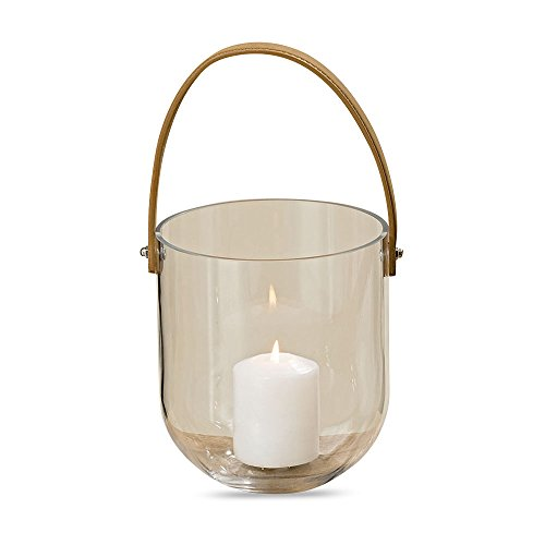 (Venice Clear Glass Hurricane Lantern with Leather Strap, Bucket Body, 7 Inches Tall, by WHW)