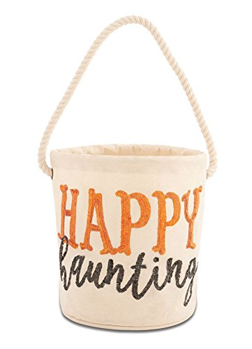 (Mud Pie Halloween Dazzle Canvas Trick or Treat Treat Bucket Tote (Happy)
