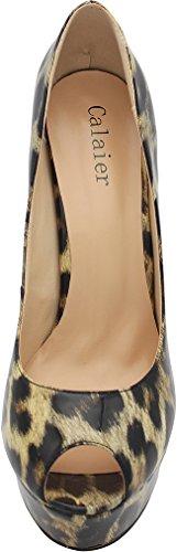 Calaier Donna Piattaforma 15cm Stiletto Matrimonio Prom Party Scarpe Tacco Alto Scarpe Brevetto Leopardo