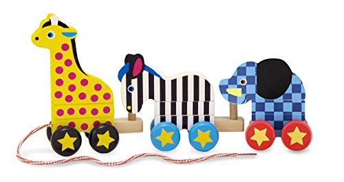 Melissa & Doug Pull-Along Zoo Animals Wooden Pull (Zoo Animals Pull Toy)