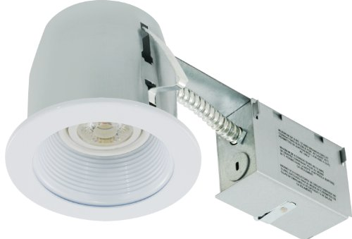 Liteline RC402C01-LED-PW-WH All-in-One 4-inch LED Recessed Combo with Remodel Housing, 8W LED PAR20 lamp, Baffle Trim, White