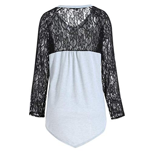 Fleurs Femme Chemisier Manches Longues Chemise Xmiral Body Rond Gris Col atqd8n