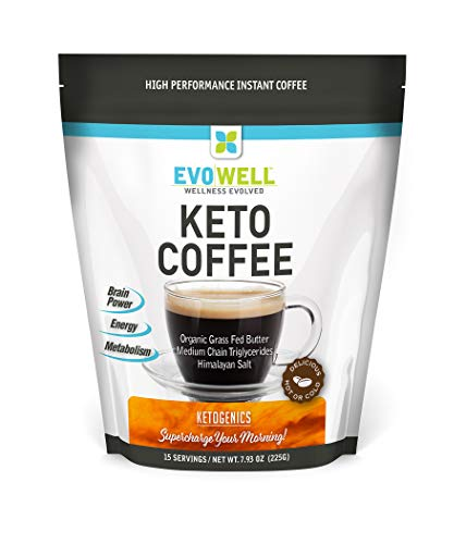 EVOWELL Keto Brown Coffee, Organic Grass Fed Butter, Medium Chain Triglycerides, Himalayan Salt, 15 Servings