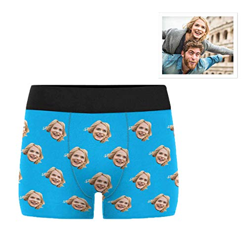Custom Personalized Photo Printed Face Blue Novelty Men's Boxer Briefs Shorts M
