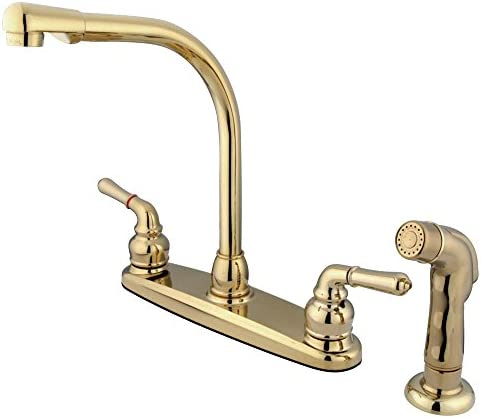 Kingston Brass GKB752SP Magellan 8-inch High Arch Kitchen Faucet with Sprayer, Polished Brass
