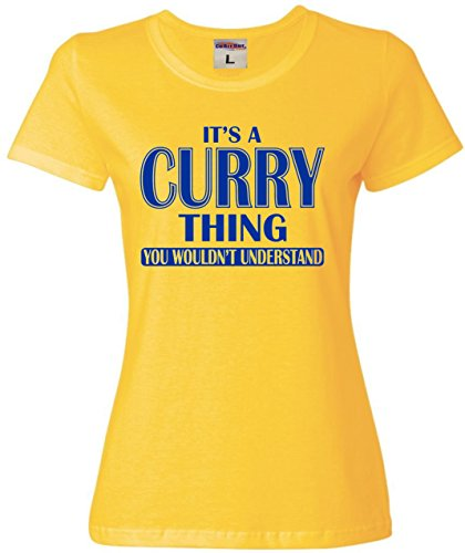 Go All Out Screenprinting X-Large Yellow Womens It's A Curry Thing You Wouldn't Understand T-Shirt