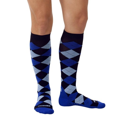 Zensah Argyle Compression Socks,Black/Royal/Baby Blue,Medium
