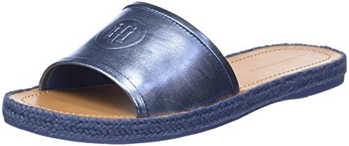 Metallic Flat T-Bar Sandal, Sandalias con Tira Vertical para Mujer, Azul (English Manor 415), 40 EU Tommy Hilfiger
