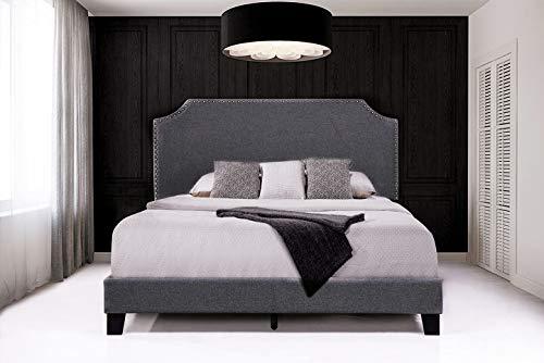 Bedroom Upholstered Platform Bed with Nailhead Trim Headboard and Wooden Slats Support for Kids Adults, Modern Platform Beds… modern beds and bed frames
