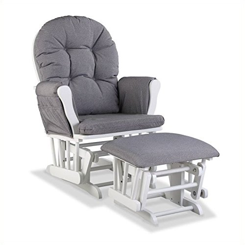 Pemberly Row WhiteSlate Hoop Glider with Ottoman in Gray Swirl by Pemberly Row