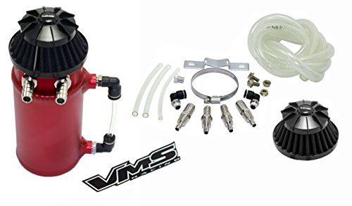 - VMS Racing Universal Matte RED Aluminum OIL Reservoir CATCH CAN Canister Tank with Breather (Complete Kit)