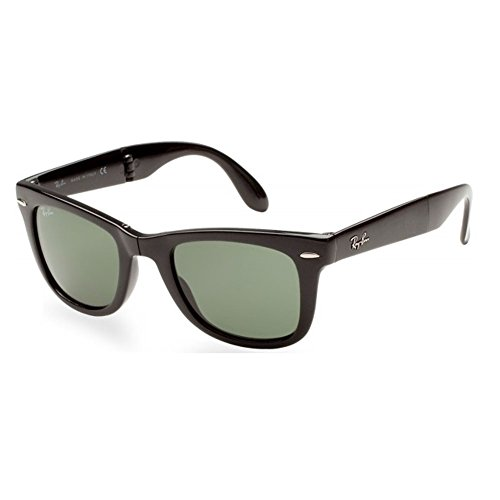 Ray-Ban RB4105 601 Wayfarer Folding Black Frame / Crystal Green G-15 Lens - Folding Ban Black Wayfarer Ray
